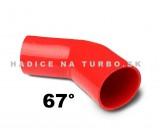 Silikónové redukčné koleno 67°, Priemery: 54-57mm, Červené Dĺžka: 150mm