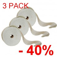 3 PACK !!! - Thermo-tape for exhaust manifolds TurboWorks 10 metres - White